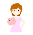 woman save money in piggy bank vector image vector image