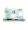woman sushi chef at kitchen vector image vector image