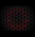 abstract black hexagon pattern on red neon vector image vector image