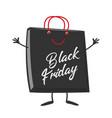 black friday shopping bag cartoon character mascot vector image