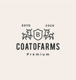 bull coat arms hipster vintage logo icon vector image vector image
