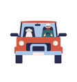 cartoon male driver with dog on car flat vector image vector image