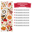 christmas menu with dishes and ingredients vector image vector image