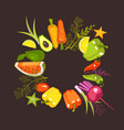 circle of vegetables vector image vector image