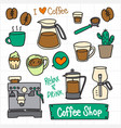 coffee doodle set coffee maker vector image
