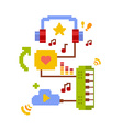 colorful of music online cloud service on wh vector image