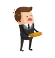 cute businessman holding coin icon vector image