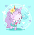cute cartoon unicorn girl with flowers blowing vector image vector image