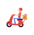 delivery man riding scooter or motorbike and vector image