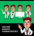 doctor mascot character set logo icon vector image vector image