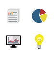 flat icon gain set of document graph bubl and vector image vector image
