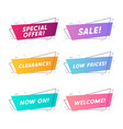 flat linear promotion ribbon banner vector image
