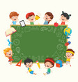 funny kids holding blank placard vector image