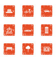 game play area icons set grunge style vector image vector image