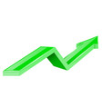 green arrow up growing 3d shiny icon vector image vector image