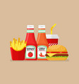hamburger french fries and soda with tomato and vector image