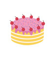 hand drawn cake with cherries isolated element vector image vector image