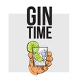 Hand holding glass of gin vodka water with ice vector image vector image