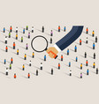 hand magnify on crowd people concept of vector image