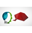 Human head with origami blank speech bubble vector image