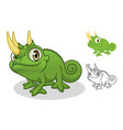 jackson chameleon cartoon character mascot vector image