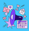 megaphone and office icons vector image