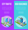 modern city traffic banners set vector image