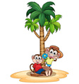 Monkeys and tree vector image