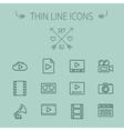 Mutimedia thin line icon set vector image vector image