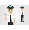 pilot holding plane model vector image vector image