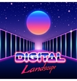 Retro styled futuristic landscape with lettering vector image vector image