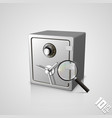safe with a magnifying glass vector image vector image