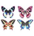set colorful butterflies halftone effect vector image vector image