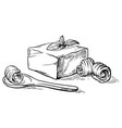sketch hand drawn block of butter and spoon with vector image vector image