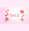 sweet color sales banner background with hearts vector image