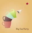 Tea cups pyramid Big tea party vector image
