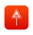 warning road sign icon digital red vector image vector image
