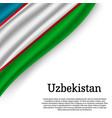 waving flag of uzbekistan vector image