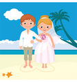 Wedding couple just married on the beach vector image