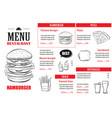 fast food menu design template restaurant or cafe vector image