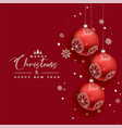 Beautiful christmas balls snowflakes red greeting