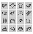 black bread icon set vector image vector image