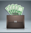 briefcase bribe money dollar icon vector image