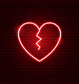 broken heart neon sign vector image vector image