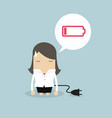 businesswoman feeling tired and low battery vector image