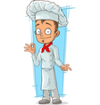 Cartoon young chef in white uniform vector image vector image