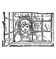 child at window looking outside in this picture vector image vector image