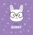 childish poster with cute bunny vector image