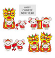 chinese new year greeting card year rat vector image vector image