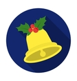 Christmas bell with holly berry icon in flat style vector image
